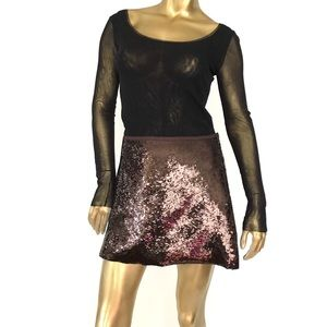THEORY ROXANNE SPREAD BROWN SEQUIN MINI SKIRT SZ 8
